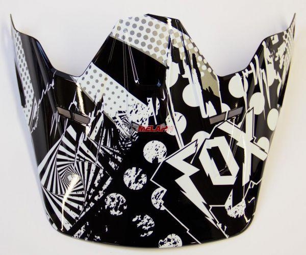 FOX Helmschirm: Visor V2 Camplosion, schwarz/weiß