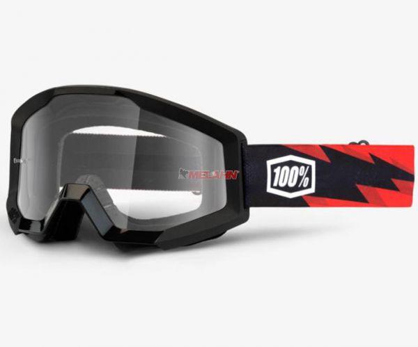 100% Strata Slash Goggle Motocross MTB MX Enduro Cross Brille, klares Glas, schwarz/rot