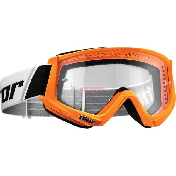 THOR Combat Solid Goggle Motocross MTB MX Enduro Cross Brille, klares Glas, neon-orange