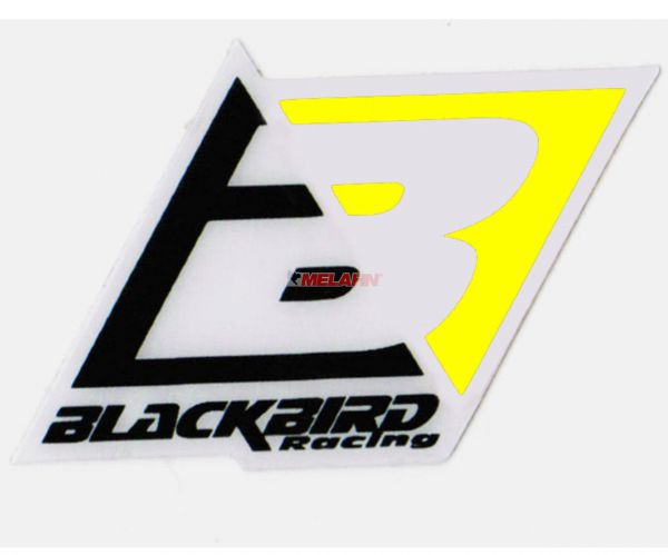 BLACKBIRD Aufkleber: Logo, 6,5x4,5cm, neongelb