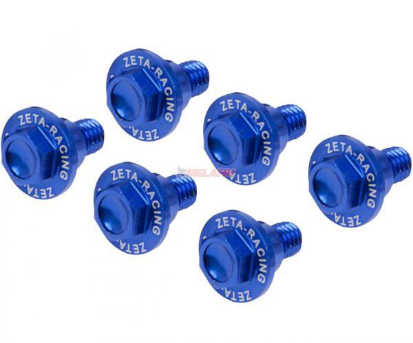 ZETA Aluminium-Schrauben für Gabelschützer (6 Stück) KTM 65/85/125-530 SX/EXC 00- / Freeride, blau