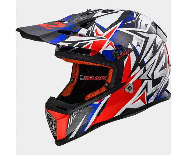 LS2 Helm: Fast MX 437, Strong, weiß/rot/blau