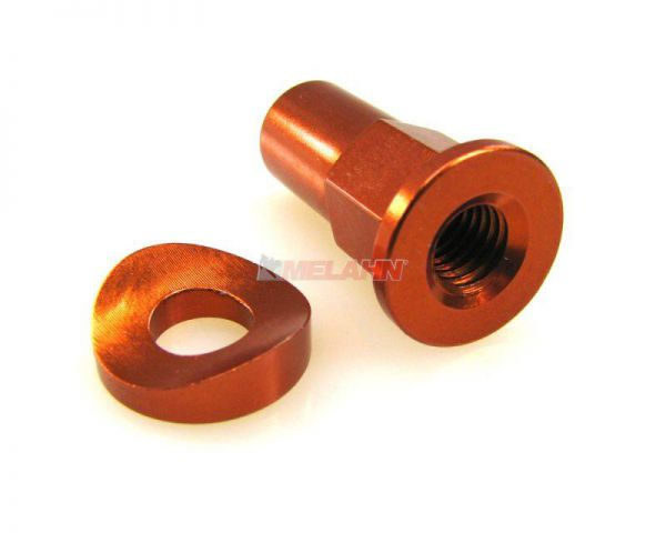 ZAP Aluminium-Reifenhalter-Mutter, 1 Stück, orange
