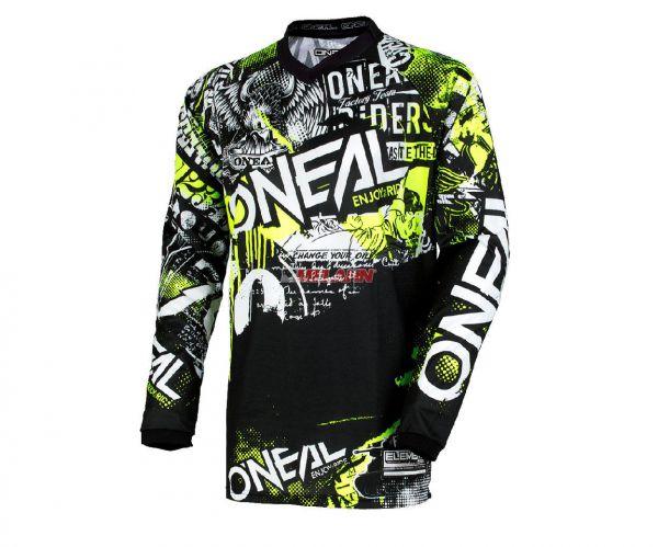 ONEAL Jersey: Element Attack, schwarz/neon-gelb
