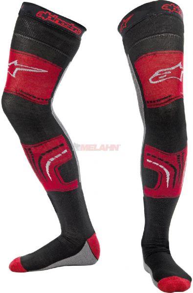 ALPINESTARS Knee Brace Socke (Paar): MX long, rot/grau