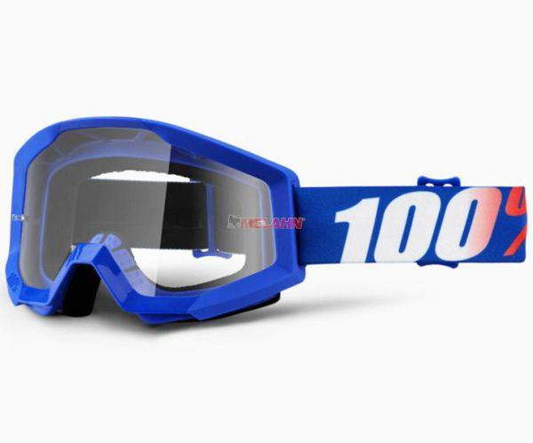 100% Strata Nation Goggle Motocross MTB MX Enduro Cross Brille, klares Glas, blau