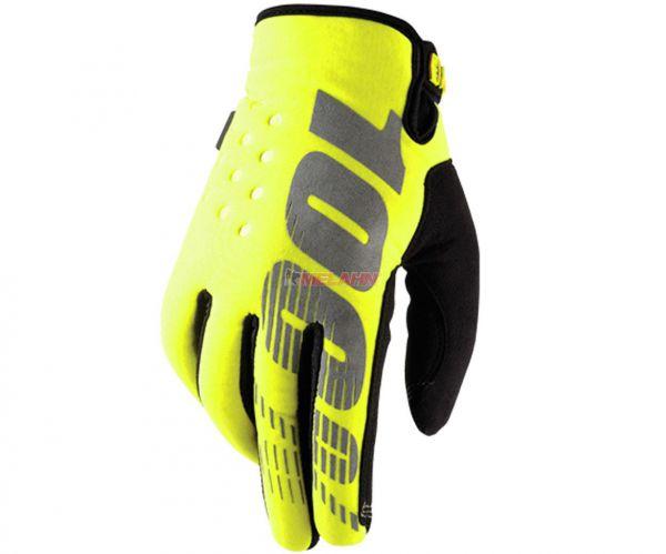 100% Handschuh: Brisker, Neopren, gelb
